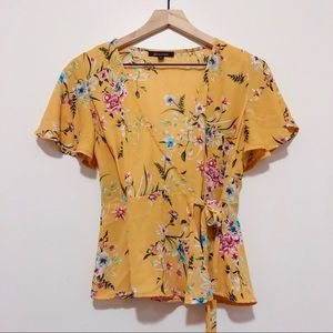 Mustard yellow/marigold with floral pattern blouse